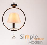 American Village Fabric Droplight Modern LED Crystal Pendant Light Fixtures For Dining Room Hanging Lamp Indoor Lighting