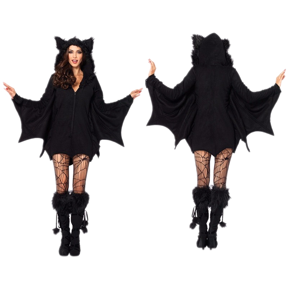 Batwoman Women Bat Black Costume Animal Cosplay faux fur Cloak Zipper Hoodies Romper Halloween Party Vampire demon Masquerade