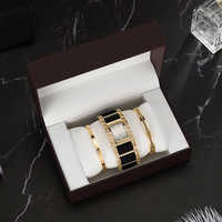 4Pcs Brand Ladies' gold chain simple quartz watches fashion stainless steel bracelet 2Pcs set high quality big gift watch box