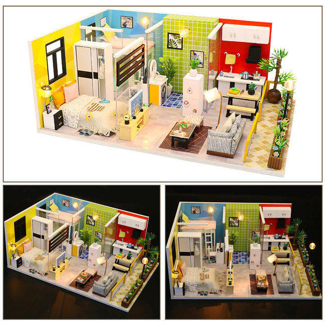 NEW Toys for Children DIY Doll House Wooden Doll Houses Miniature Dollhouse Furniture Kit Christmas Gift Simple Life M043