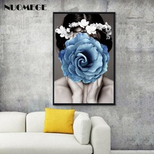 NUOMEGE Wall Art Sexy Girl Abstract Poster Flower Print Picture Nordic Modern Canvas  Entrance Painting for Home Decor