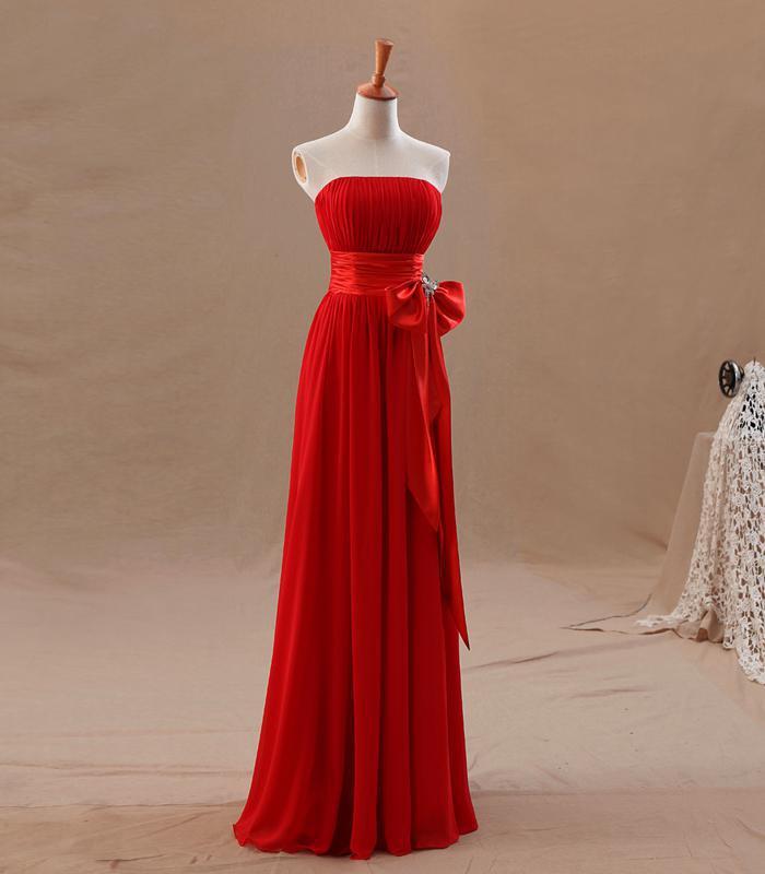2016 Crveni šampanjac djeveruše haljine uk uske nabora elegantan - Vjenčanje večernje haljine - Foto 5