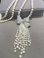 white 8 9MM Long fresh water pearl Necklace nearround Bowknot solid silsver cubic zircon tassels fashion women jewelry