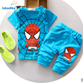 100% Cotton Kids Baby Clothes Boys Summer 2017 New Children Clothing Spiderman Fashion Toddler Boys Clothing Set Wholesale T551