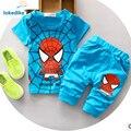 100% de Algodão Crianças Roupas de Bebê Meninos Verão 2017 Roupas Novas Crianças Spiderman Moda Criança Set Roupas Meninos Atacado T551