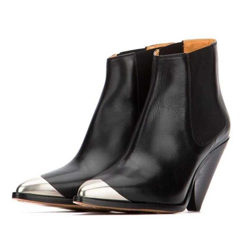 Marka tasarım kırmızı siyah metal sivri burun deri yarım çizmeler başak yüksek topuklu ayakkabı kadın slip-on pist kovboy çizmeleri kadınlar için