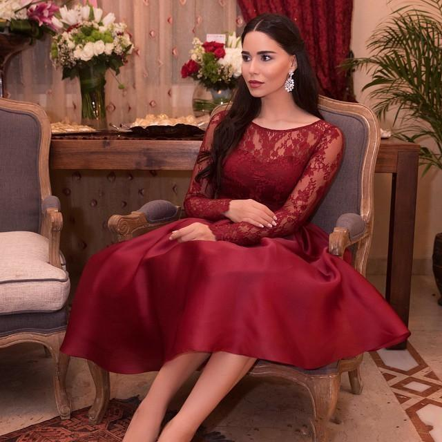 Long Sleeves Prom Dress 2015 Mid Calf Length Party Dresses 2015 ...