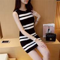 Edition Black White Striped Sweater New Ice Hemp Yarn Tension Close Skin Cultivate One S Morality