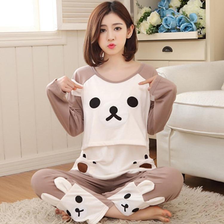 2PCS Pack Cotton Maternity Clothes Pregnant Pajamas Maternity Sleepwear Long Sleeve Maternity Pajamas Nursing Pajamas Set SY08