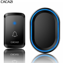 CACAZI Intelligent Home Welcome Wireless Doorbell Waterproof 1 2 Button 1 2 Receiver US EU UK Plug LED Light Calling Door Bell cacazi wireless door bell waterproof battery 2 transmitter 3 receiver us eu uk au plug home bell wireless chime ring bell
