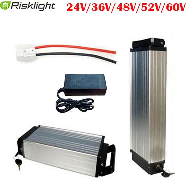 Support arrière batterie de vélo électrique 36V 48V 52V 60V 15AH 20AH 25AH 30AH 18650 cellule rechargeable Lithium Ebike pour 500-1500W Ebike