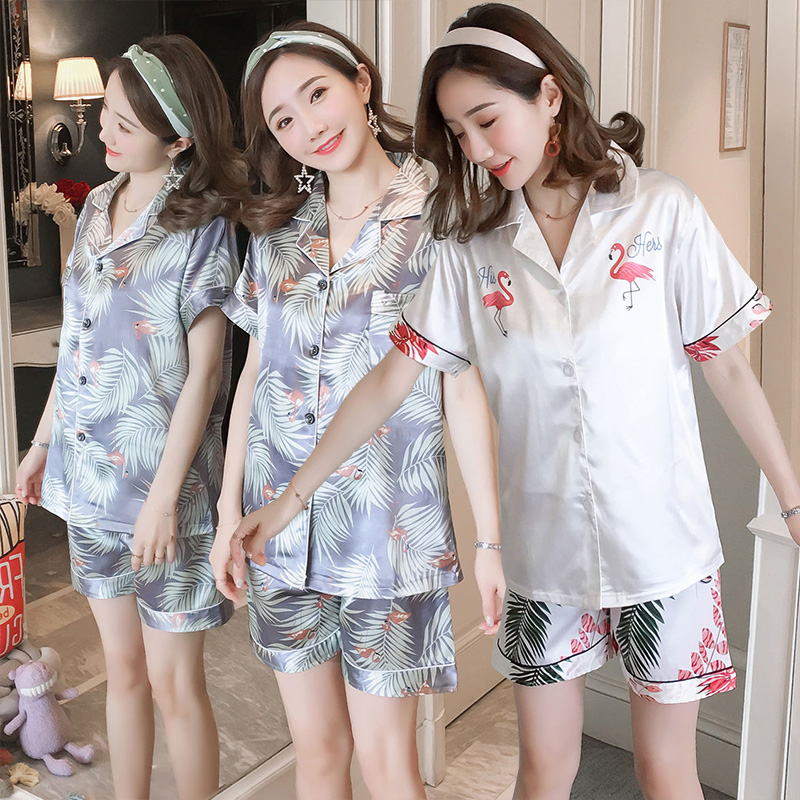 Cute Cartoon Flamingo Silk Satin Shorts   Pajamas     Sets   for Women 2019 Summer Short Sleeve Sleepwear Homewear Pijama Mujer Clothes