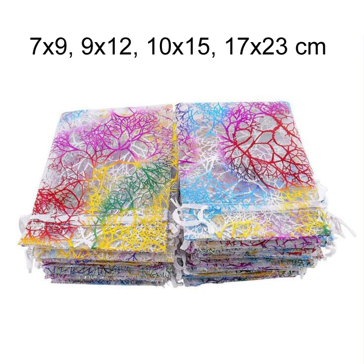 100pcs/lot 7x9, 9x12, 10x15, 17x23 Cm Coral Pattern Drawstring Organza Pouches Gauze Yarn Wedding Party Candy Bags Gift Bag