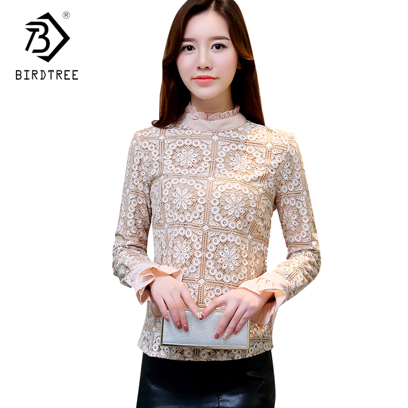 Elegant Long Sleeve Bodysuit Women Lace blouse shirts crochet tops blusas Mesh Ruffled Chiffon blouse female clothing T81208L