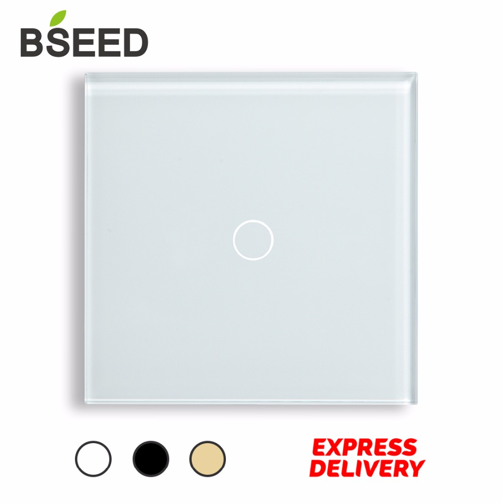 Touch Switch 1 Gang 1 Way Wireless Touch Light Switch Wall Switch by BSEED Express Delivery 5 Years Warranty, White Black Gold ewelink eu uk standard 1 gang 1 way touch switch rf433 wall switch wireless remote control light switch for smart home backlight