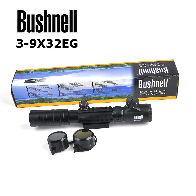 BUSHNELL 3-9x32 EG Tactical Riflescope Hunting Scopes Red /Green Dot Illuminated Sight Sniper Scopes w/22mm For Airsoft Air Gun mossy oka lb 3 9x32 hunting scopes tactical riflescope sniper scope outdoor tactical hunting gun with 11 20mm mount