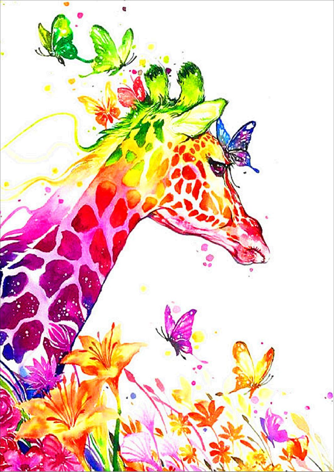 DIY 5D Diamond Painting Animals Giraffe Resin Circular Drill Embroidery Cross Stitch Mosaic Rhinestone Decoration Painting