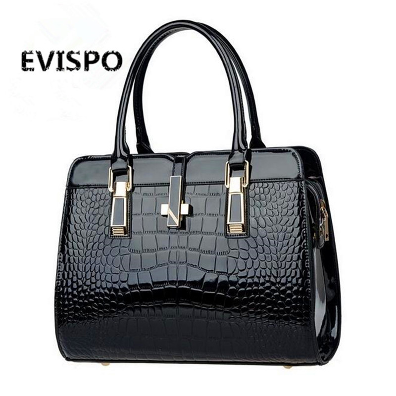 Spring explosion models patent leather crocodile pattern handbag European and American fashion messenger bag 10 color options 2016 fashion spring and summer crocodile pattern japanned leather patent leather handbag one shoulder cross body bag for women