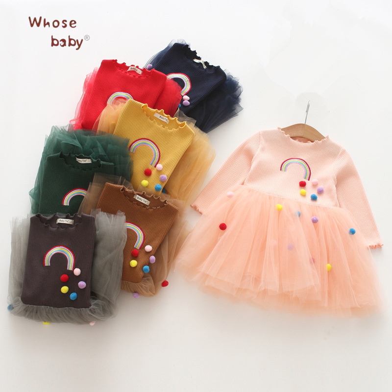2018 New Year Girls Dresses Casual Embroidery Rainbow Princess Dress For Girl Vestido Fashion Mesh Patchwork Kids Clothing spring winter girls dress 2018 casual long sleeves lace mesh patchwork kids dresses for girl new year clothing princess dress