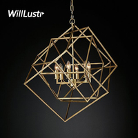 Willlustr CAGED CUBIST PENDANT lamp geometric hanging lighting multifaceted metal frame loft Bar suspension Light