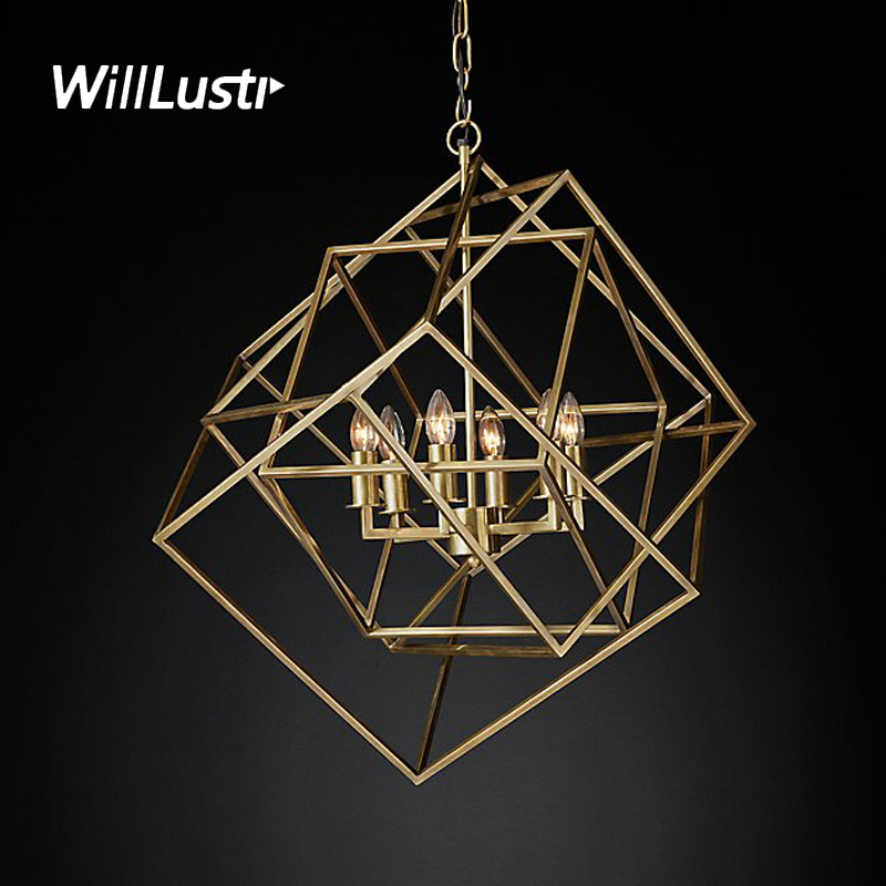 Willlustr CAGED CUBIST PENDANT lamp geometric hanging lighting multifaceted metal frame loft Bar suspension Light цена