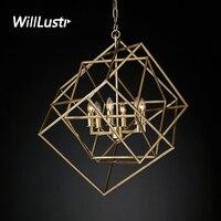 Willlustr CAGED CUBIST подвесной светильник геометрический многогранный металлический каркас Лофт бар Подвеска Свет