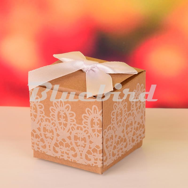 Paper Cardboard Box 12pcs/lot 5x5x5.5cm Brown Color Ribbon Decorated Packing Box Candy Box Birthday Wedding Party Supplies