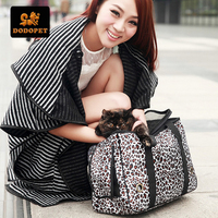 New Arrival PVC Leather Dog Carrier Bag Leopard Print Pet Dog Carrier Case Portable Travel Dog