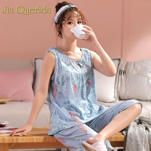 Image 3 - Homewear pyjamas pour femmes été sans manches mollet longueur pantalon 100% coton grande taille Floral Pyjama femme coton rose Pijama ensemble