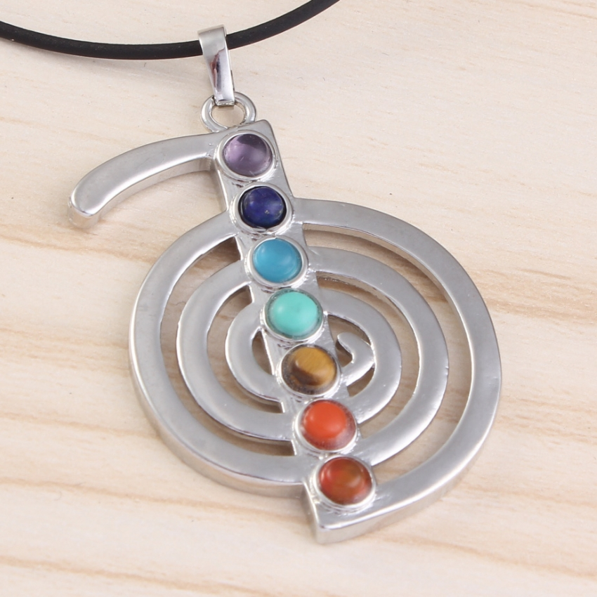 Kraft-beads Popular Silver Plated 7 ReiKi Stone Beads Energy Symbol Pendant Healing Balance Chakra Pendant Guardian Jewelry