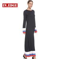 Loose Maxi Dresses Women Long Sleeve Knitting Beach Party Black Patchwork Midi Dress Bodycon Classic Casual Robe Femme Vestidos