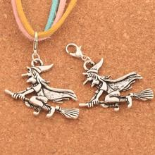 Witches On Broom Lobster Claw Clasp Charm Beads 49.2X36.9mm 60PCS Antique silver Jewelry DIY C224 characterization of protea witches broom phytoplasma