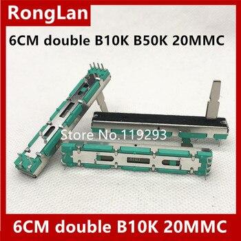 [BELLA]6cm 60MM double B10K B50K Original DJM 400 500 600 800 mixer fader volume potentiometer --50pcs/lot