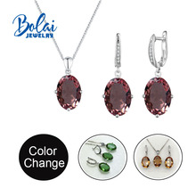 Bolai jewelry,color change zultanite Jewelry set 925 sterlings silver fine jewelry created gemstone for girl nice birthday gift