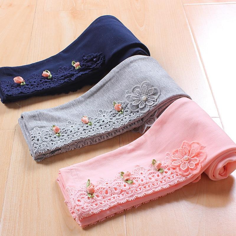 Girls Lace Cotton Flower Causal Princess Leggings For Children Infant Skinny Leggings Spring Summer Autumn 4-10 Years 2018 New
