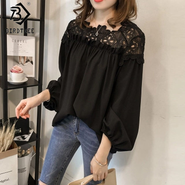 Chiffon Lace Hollow Out 2017 Women Blouses and Tops Korean Women Clothing Button Full Sleeve O-Neck Female Tops Blouses T7O703AW