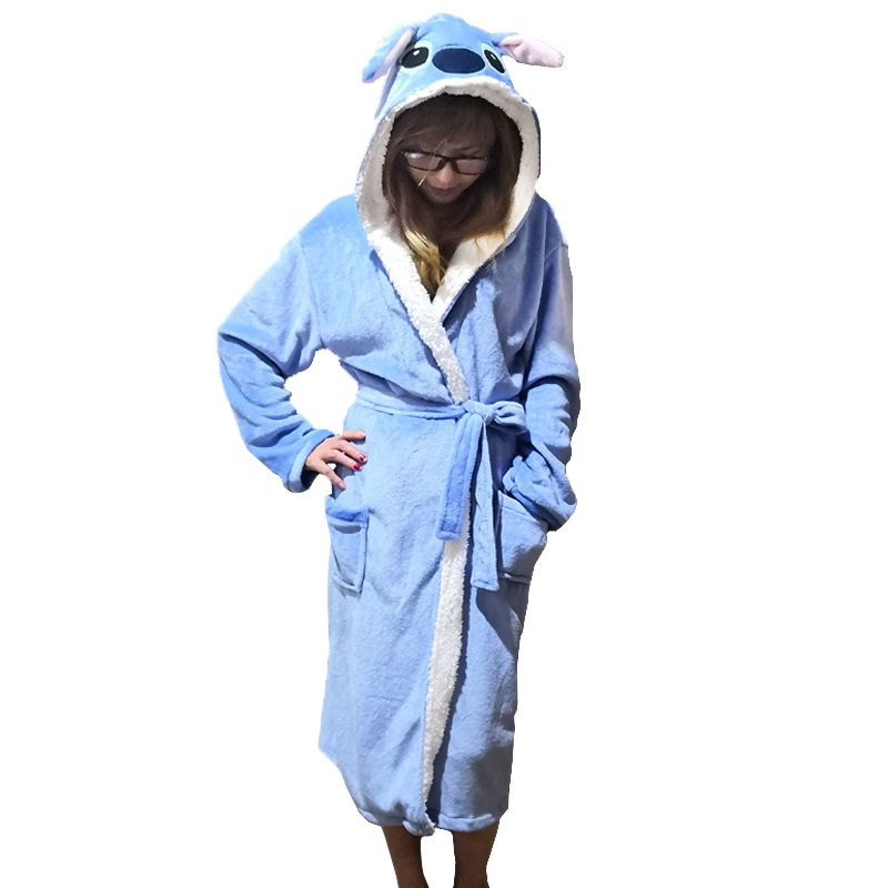 Image 5 - Unisex Animal Sleepwear Robe Sleep Cute Nightgown unicorn Stich night robe Bathrobe Winter Homewear Dressing Gowns For Women Men-in Robes from Underwear & Sleepwears