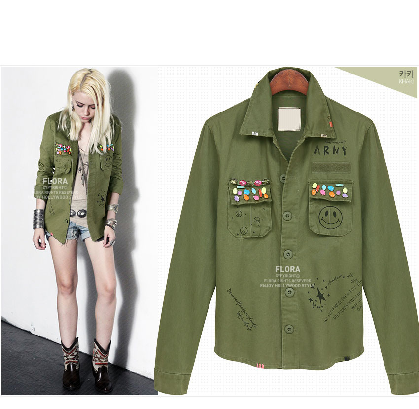 Images of Womens Olive Green Military Jacket - Reikian