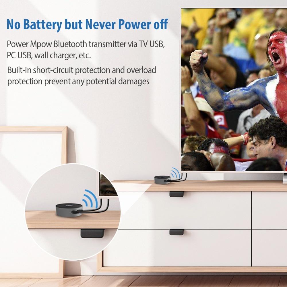 Mpow 261A Bluetooth 5 0 Transmitter Real APTX/APTX HD/APTX LL Wireless  Audio Adapter Dual Connections Bluetooth Adapter For TV