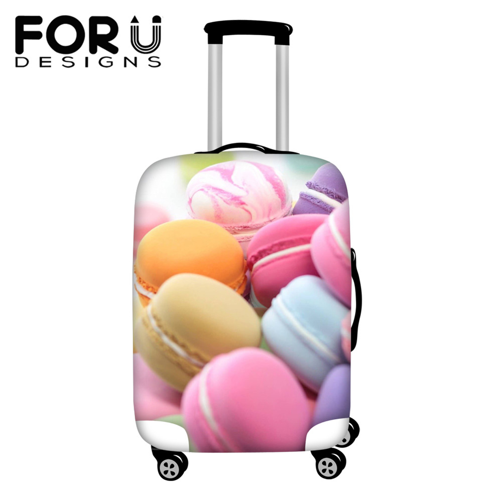 FORUDESIGNS Travel Luggage Protect Cover 3D Sweet Macaron Pattern Trolley Luggage Accessories Cover Apply To 18-30 Inch Suitcase