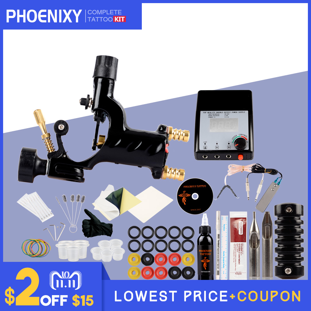 Professional Tattoo Kit Complete Rotary Tattoo Machine Gun Equipment Set Starter Kit 1 Gun Supply Body Art 30ml Black Tattoo Ink itatoo tattoo kit cheap beginner coil tattoo machine set kit tattoo ink rotary machine 2 gun liner supply professional tk1000005 page 4