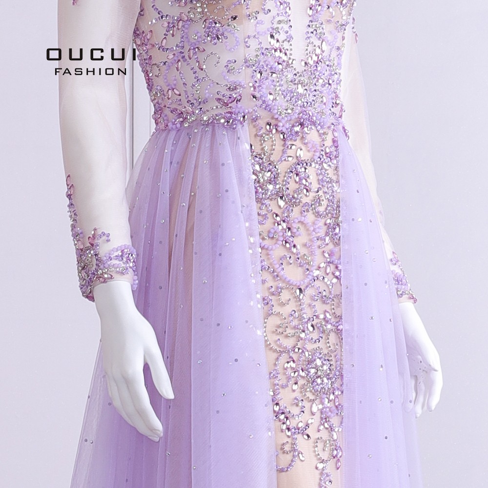 Image 5 - 2019 Elegant Lilac Evening Dress Long Sleeve V Neck Sexy Illusion Beaded Crystal  Court Train Robe De Soiree Plus Size OL103090BEvening Dresses   -