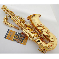 French Selmer 802 E Flat Alto Saxophone Brand Professional Electrophoresis Gold Saxe Musical Instrument Super Action