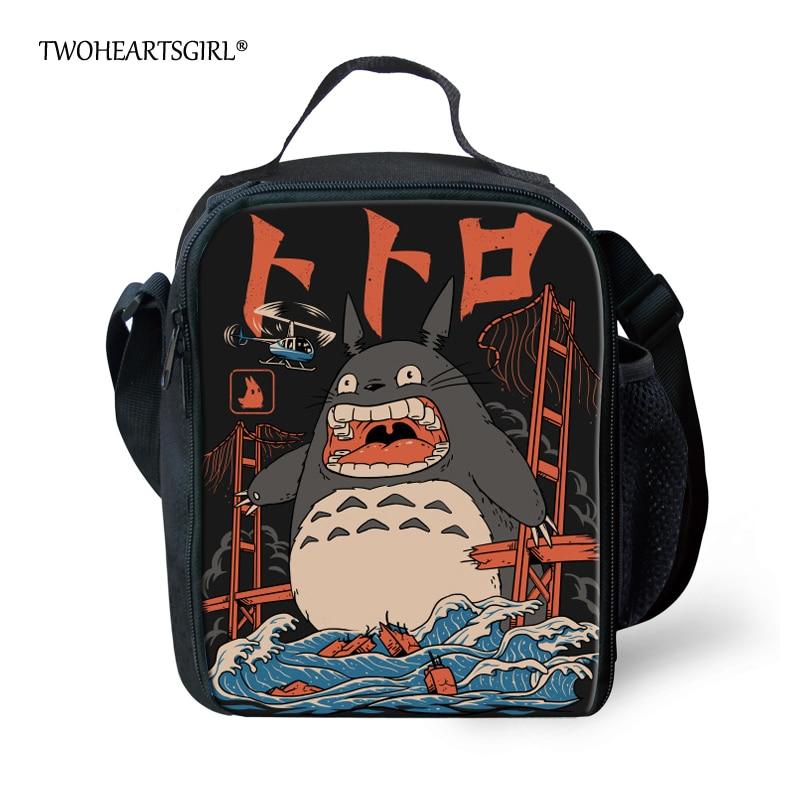 Bonito dos Desenhos Bolsa para Crianças Bolsas de Comida Twoheartsgirl Animados Totoro Impressão Lunch Meninas Mulheres Coolor Thermo Lancheira Isolamento Térmico