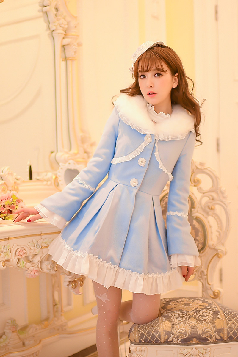Princess sweet lolita coat Candy Rain Winter new Sweet bowknot ruffled fur slim coat C16CD5985 princess sweet lolita coat candy rain original new winter japanese style rabbit fur lace bow cotton padded jacket pink coat ab02