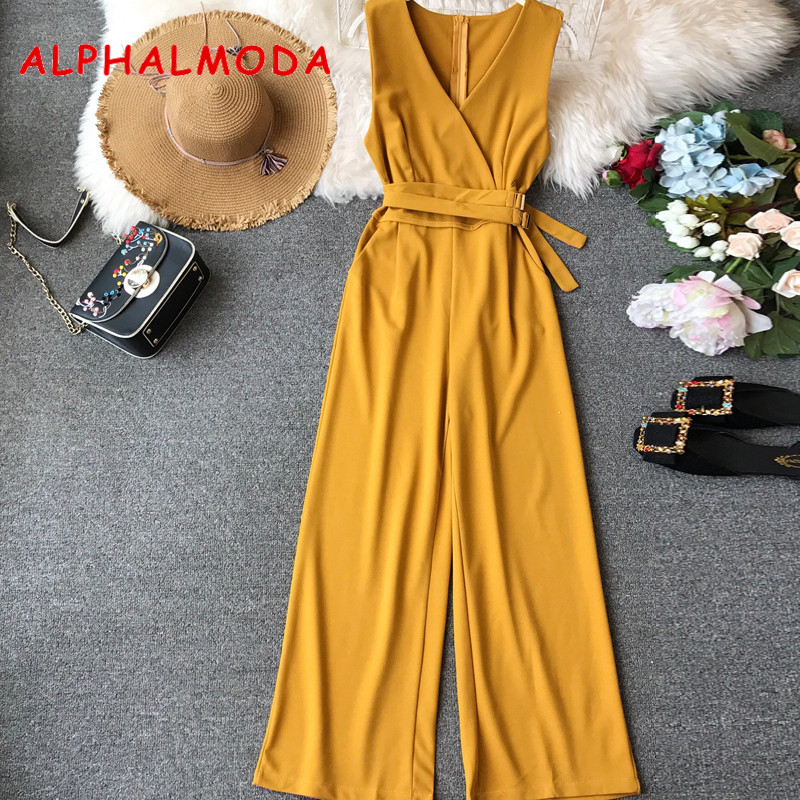 ALPHALMODA 2019 Spring Ladies Sleeveless Solid Jumpsuits V neck High Waist Sashes Women Casual Wide Leg Rompers-in Jumpsuits from Women's Clothing