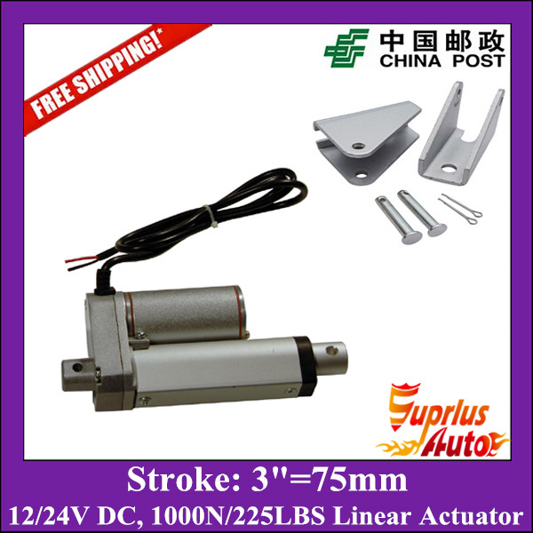 цена на Free Shipping 3inch/75mm stroke actuator linear with mounting brackets, 12v/24v electric linear actuator max load 1000N/100KGS
