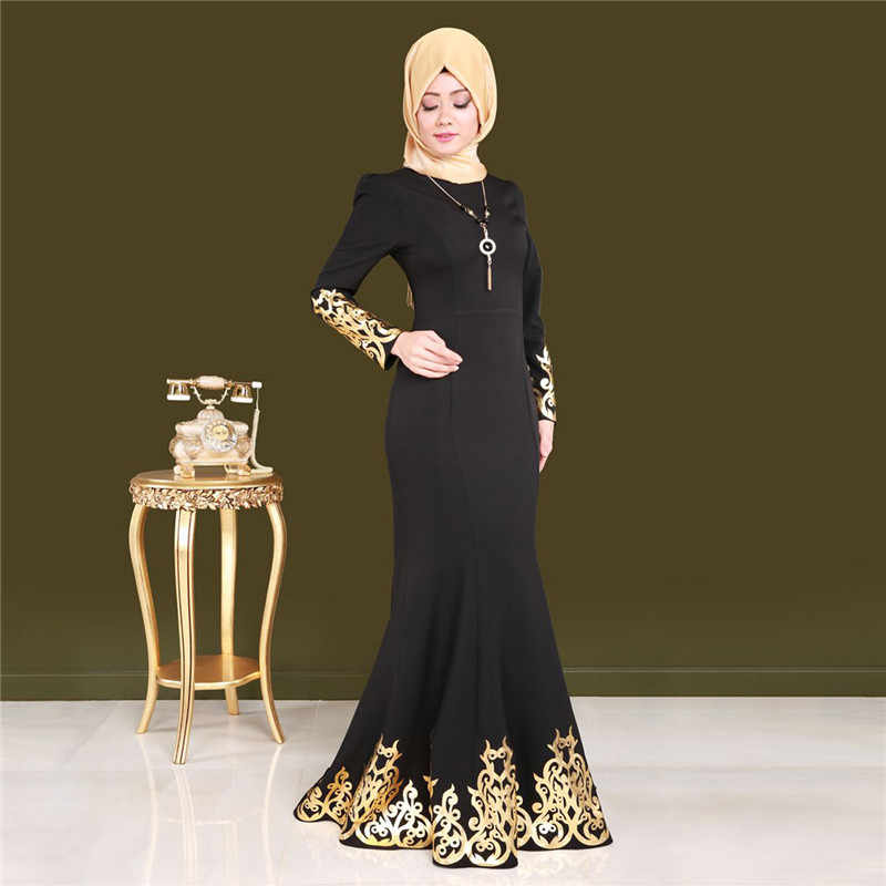 734bd4536ceee Casual Muslim Bronzing Arabian Long Robe Dress Abaya Loose Gown Middle East  Moroccan Prayer Service Ramadan Islamic Clothing New
