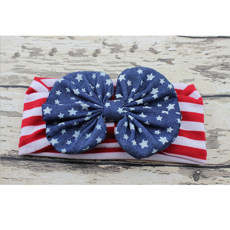 4th of july Children American Patriots' Day Big Bow Baby Girls Headband Baby Hair bands Turban Knot Head Wraps Hair Accessories