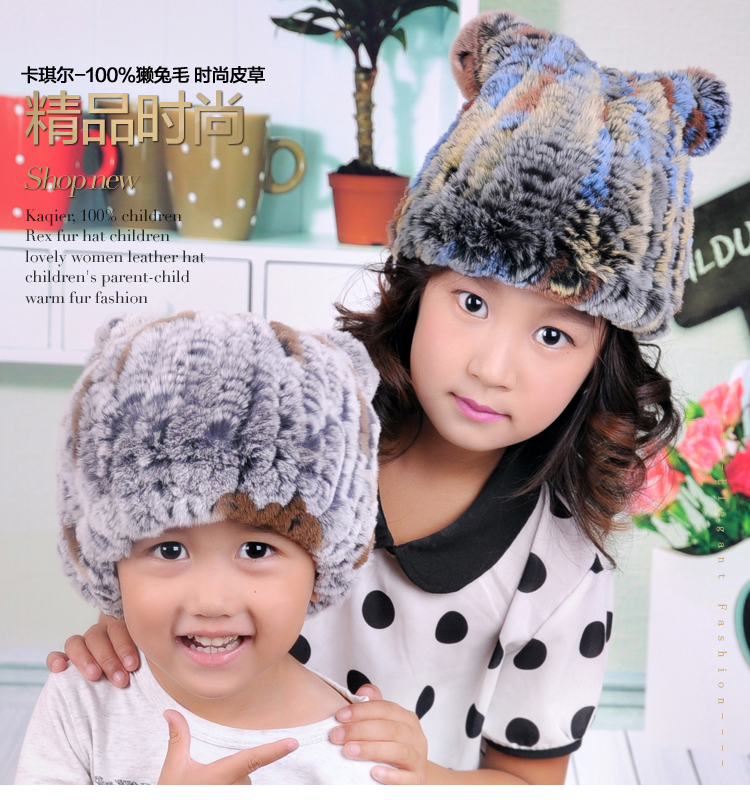 The new winter rex rabbit fur hat leather hat child ear cap thick warm wool hat princess hat skullies new winter warm hat wool leather hat rabbit hair hat fashion cap fpc018